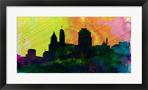 Framed Cincinnati City Skyline Print