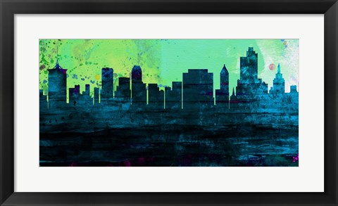 Framed Tulsa City Skyline Print