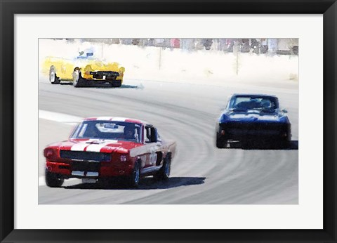 Framed Mustang and Corvette Racing Print