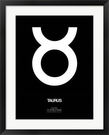 Framed Taurus Zodiac Sign White Print
