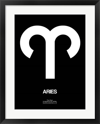 Framed Aries Zodiac Sign White Print