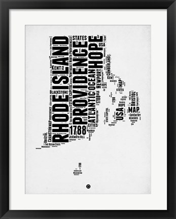 Framed Rhode Island Word Cloud 1 Print