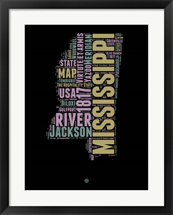 Framed Mississippi Word Cloud 1 Print