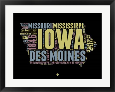Framed Iowa Word Cloud 1 Print