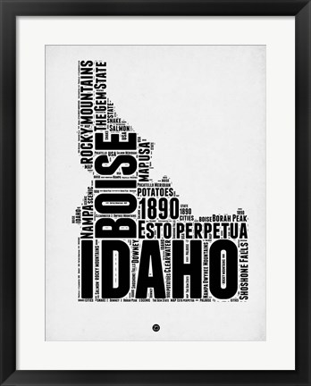 Framed Idaho Word Cloud 2 Print