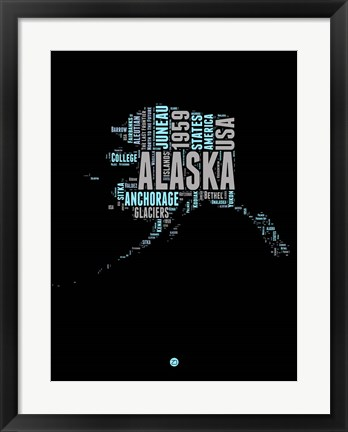 Framed Alaska Word Cloud 1 Print