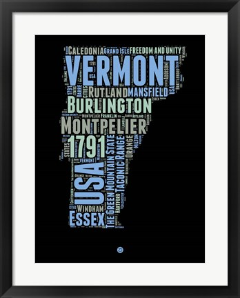Framed Vermont Word Cloud 1 Print