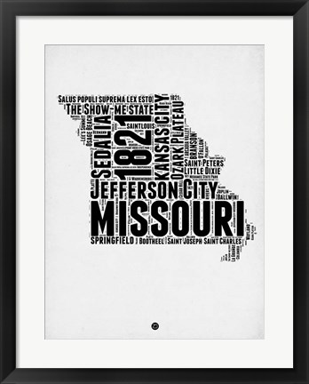 Framed Missouri Word Cloud 2 Print