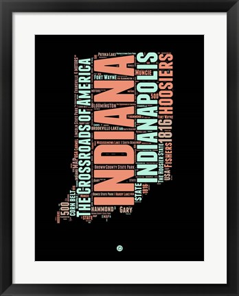 Framed Indiana Word Cloud 1 Print
