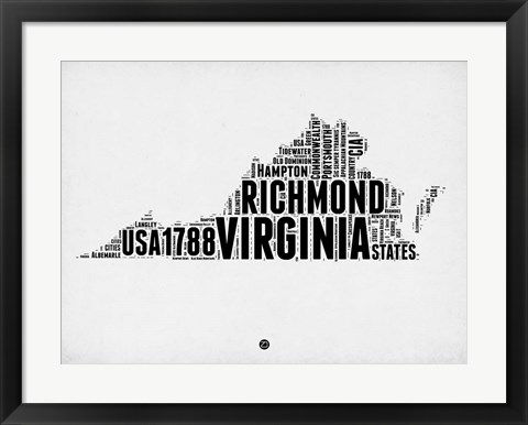 Framed Virginia Word Cloud 2 Print