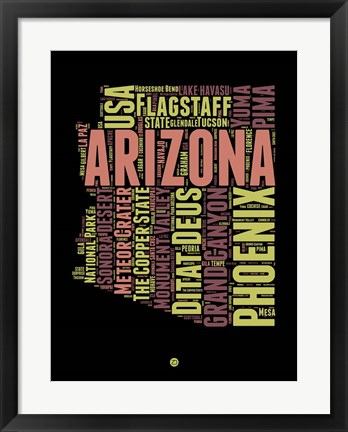 Framed Arizona Word Cloud 1 Print