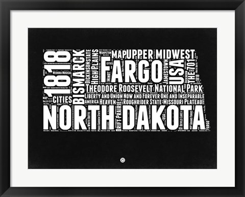 Framed North Dakota Black and White Map Print