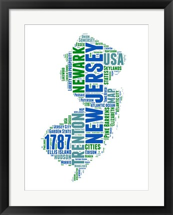 Framed New Jersey Word Cloud Map Print