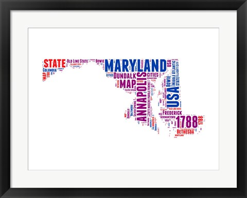 Framed Maryland Word Cloud Map Print
