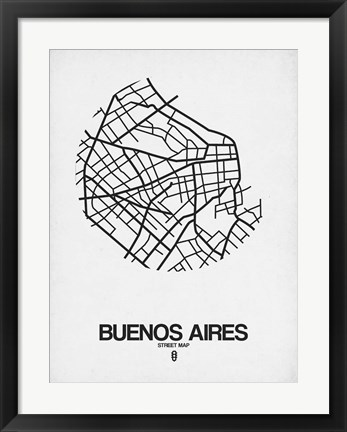 Framed Buenos Aires Street Map White Print