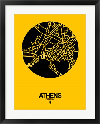 Framed Athens Street Map Yellow Print