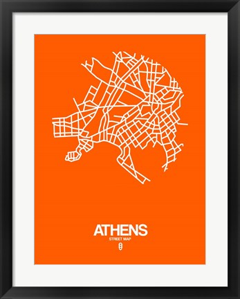 Framed Athens Street Map Orange Print