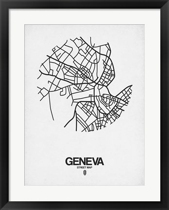 Framed Geneva Street Map White Print