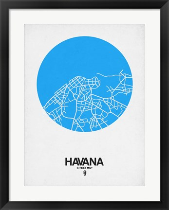 Framed Havana Street Map Blue Print