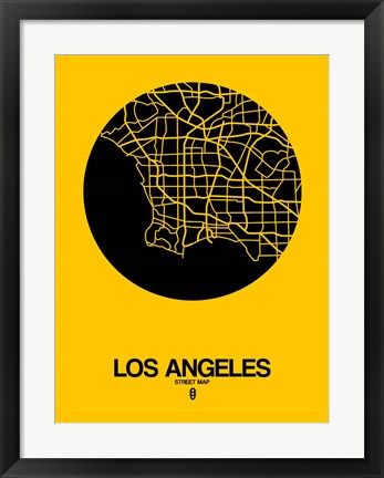 Framed Los Angeles Street Map Yellow Print