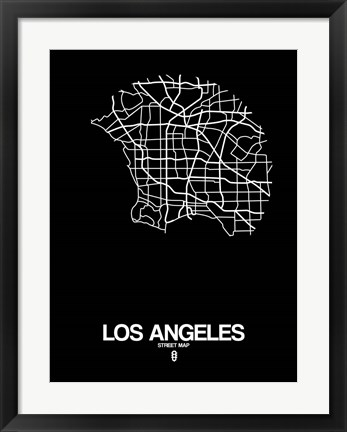 Framed Los Angeles Street Map Black Print