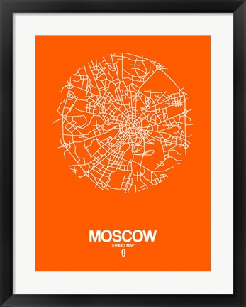 Framed Moscow Street Map Orange Print