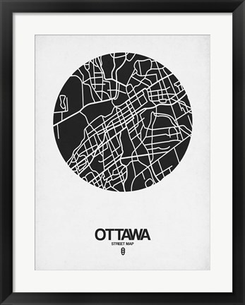 Framed Ottawa Street Map Black on White Print