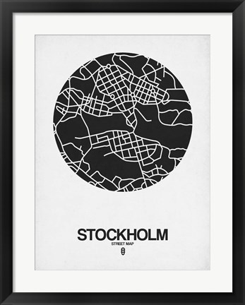 Framed Stockholm Street Map Black on White Print