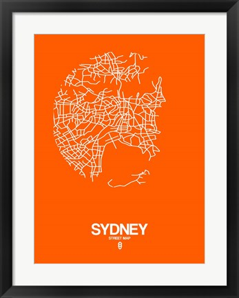 Framed Sydney Street Map Orange Print