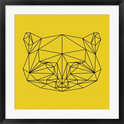 Framed Yellow Raccoon Polygon Print