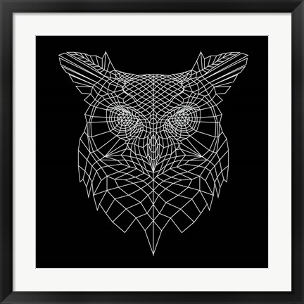 Framed Black Owl Mesh Print