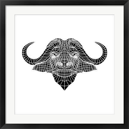 Framed Black and White Buffalo Mesh Print