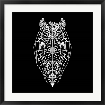 Framed Horse Head Black Mesh Print