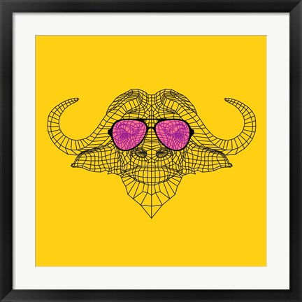 Framed Buffalo in Pink Glasses Print