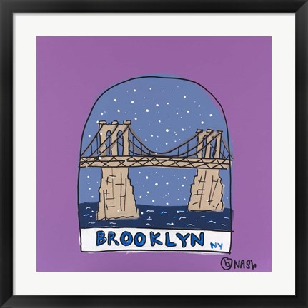 Framed Brooklyn Snow Globe Print