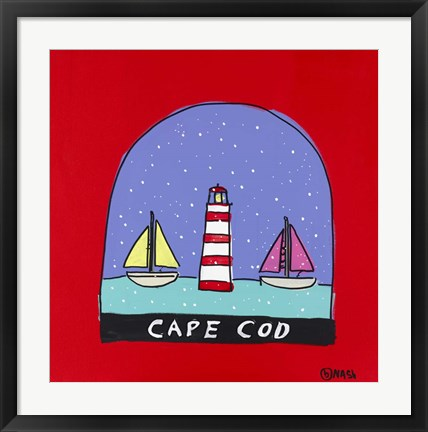 Framed Cape Cod Snow Globe Print