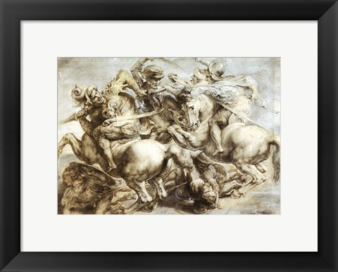 Framed Battle of Anghiari after Leonardo da Vinci Print