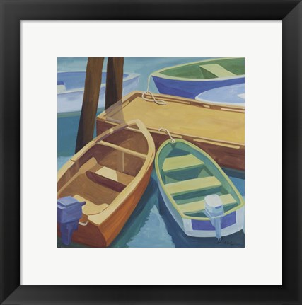 Framed Boats At The Dock Print