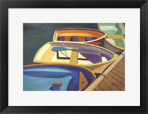 Framed Four Rowboats Print