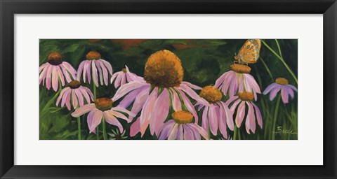 Framed Cone Flowers Print