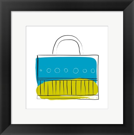 Framed Blue and Green Purse Print