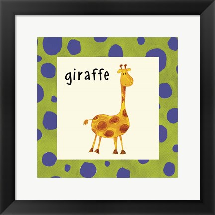 Framed Giraffe with Border Print