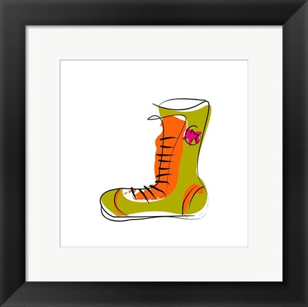 Framed Green and Orange Boot Print