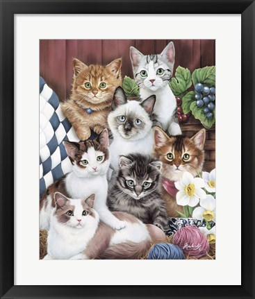 Framed Cuddly Kittens Print