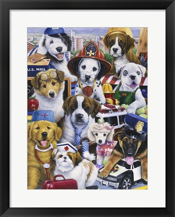 Framed Working Puppies Print