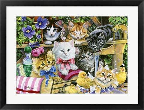Framed Bathtime Kittens Print