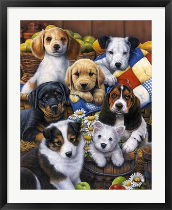 Framed Country Bumpkin Puppies Print