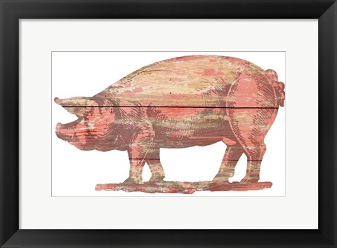Framed Pig Cut Out Print