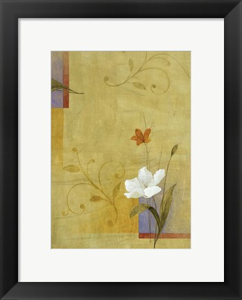 Framed White Flower on Lilac and Yellow 3 Print