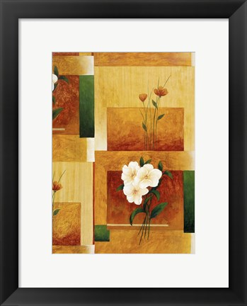Framed White Flower on Green and Yellow 2 Print